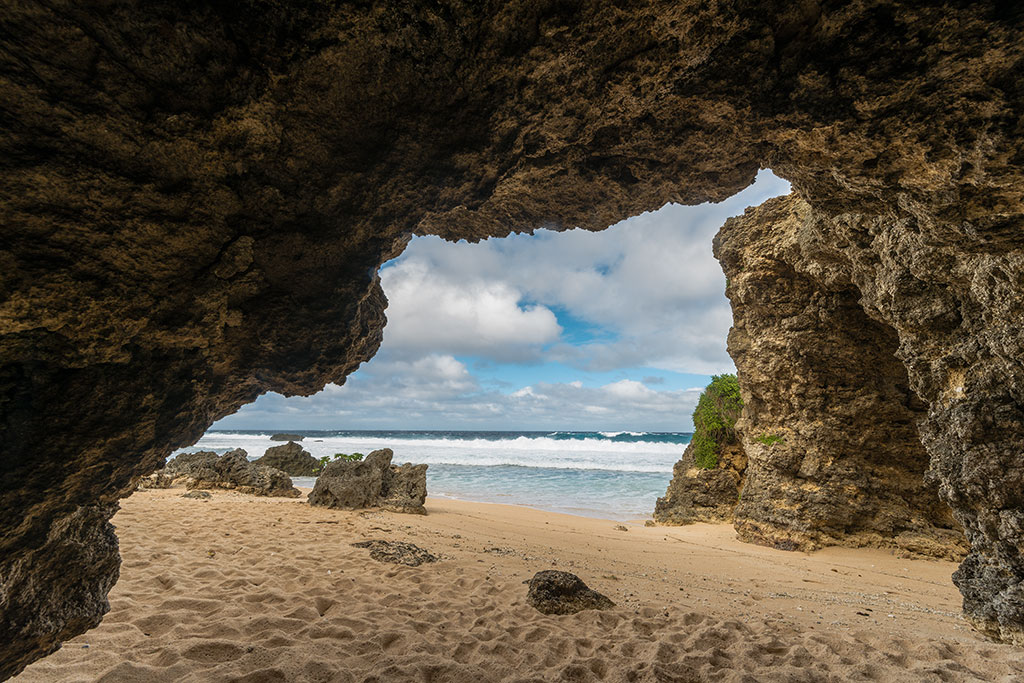The small cave behind the arch at Sabtang in Batanes, Philippines