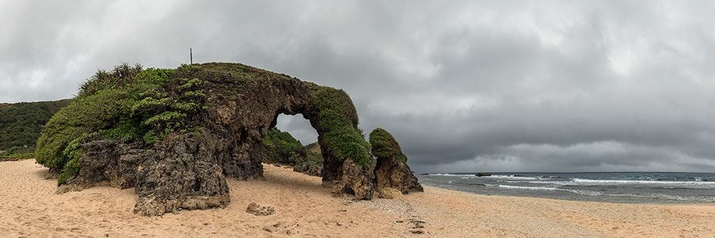 The arch at Sabtang with another rainstorm heading my way in Batanes, Phlippines