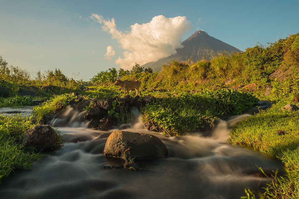 It is the most active volcano of the country, erupting over 49 times in the past 400 years. Getting some good shots of this volcano was high on my photography 'to do list' and I spend 3 afternoons/evenings here capturing photos and timelapses. I followed the river towards the volcano until I found this green area with a nice stream of water, allowing for some nice long exposure shots. The first shot of this series of 7 was taken at the nearby Cagsawa ruins, an area that was destroyed by the 1814 eruption.